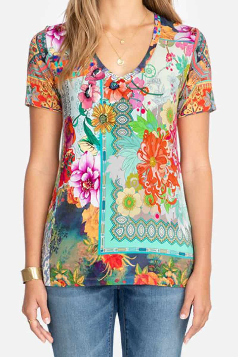 Johnny Was Tropical Block Ss Crew Tee 79555
