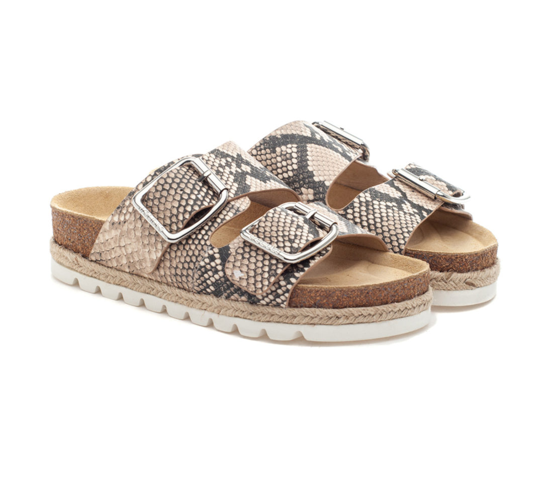 Jslides Leighton In Natural Multi Embossed Leather 64584