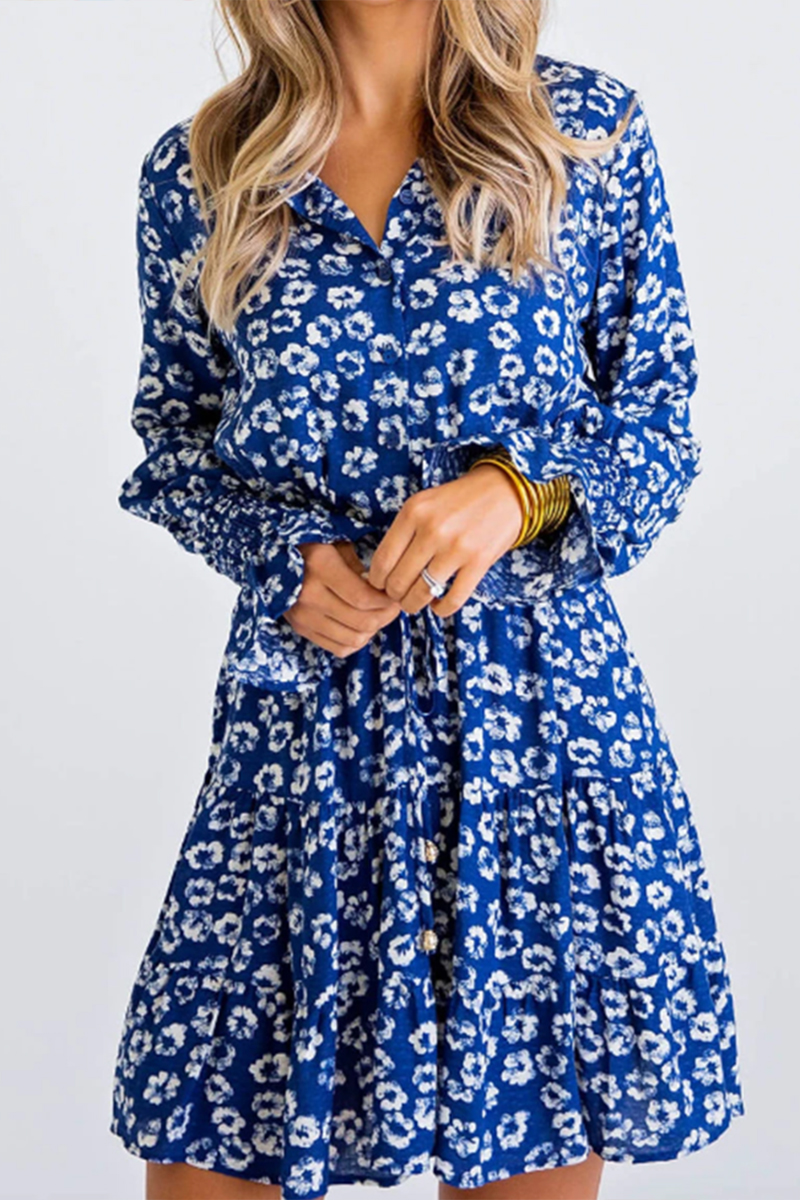 Karlie Floral Dress In Blue 65070