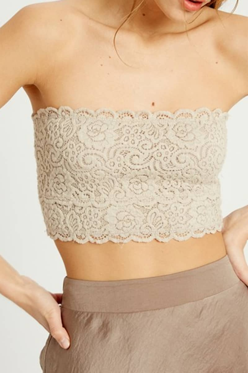 Lace Bandeau In Nude 67716