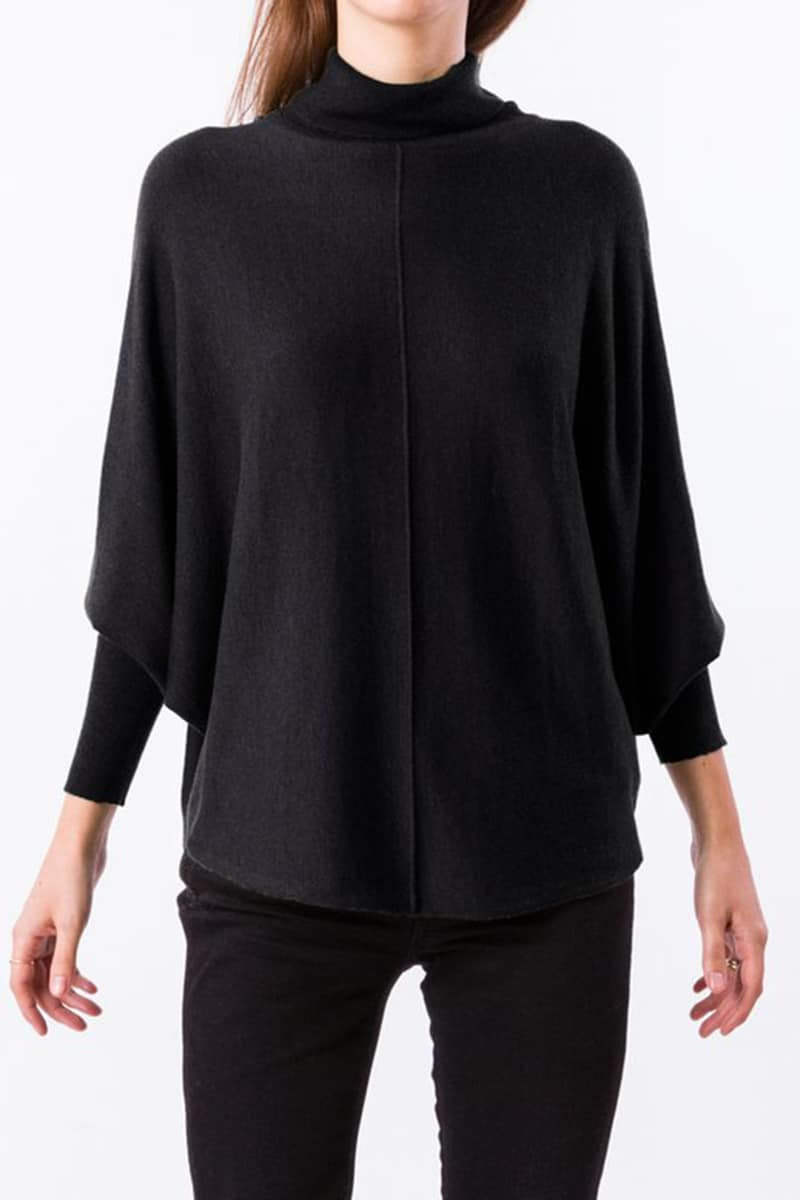 Lin Turtle Neck Sweater In Black 75314