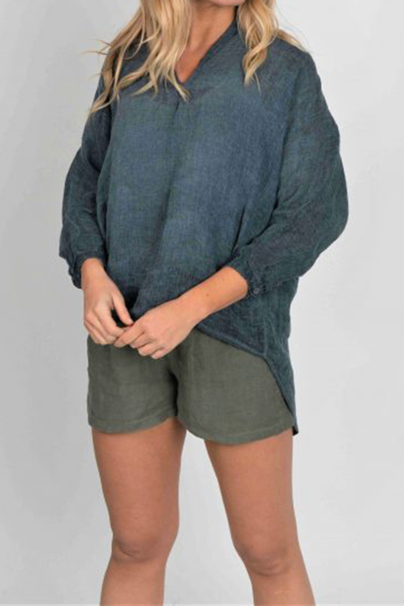 Linen Button Back Top In Grey 65526