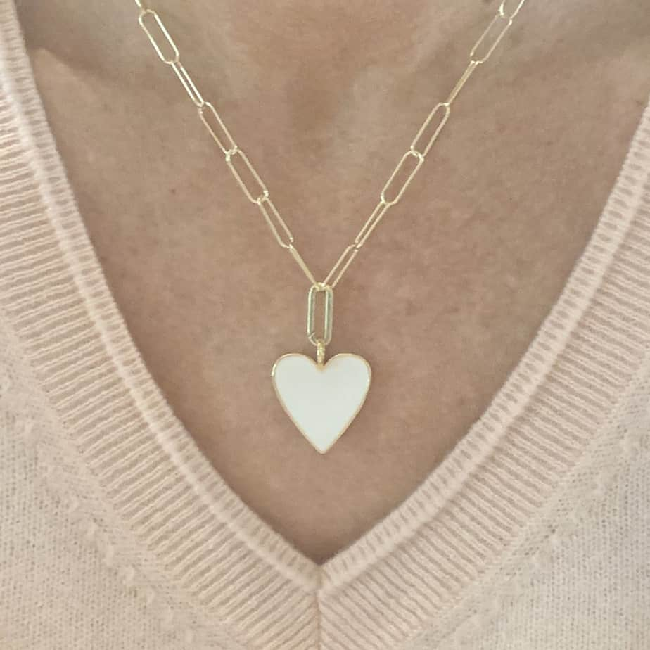 merl heart necklace in white 91968
