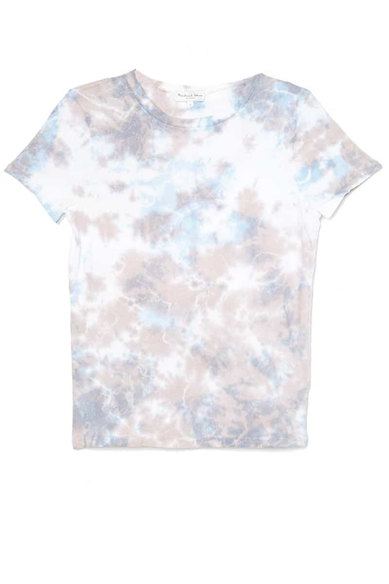 Michael Stars 100 Cotton Colleen Crew Tee In Bluemocha Tie Dye 70191