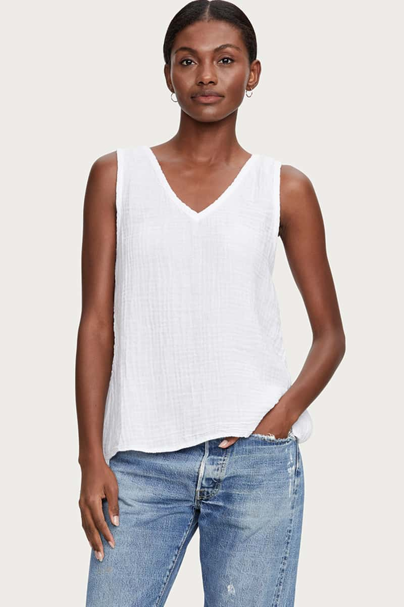 Michael Stars 100 Cotton Front To Back Tank In White 64420