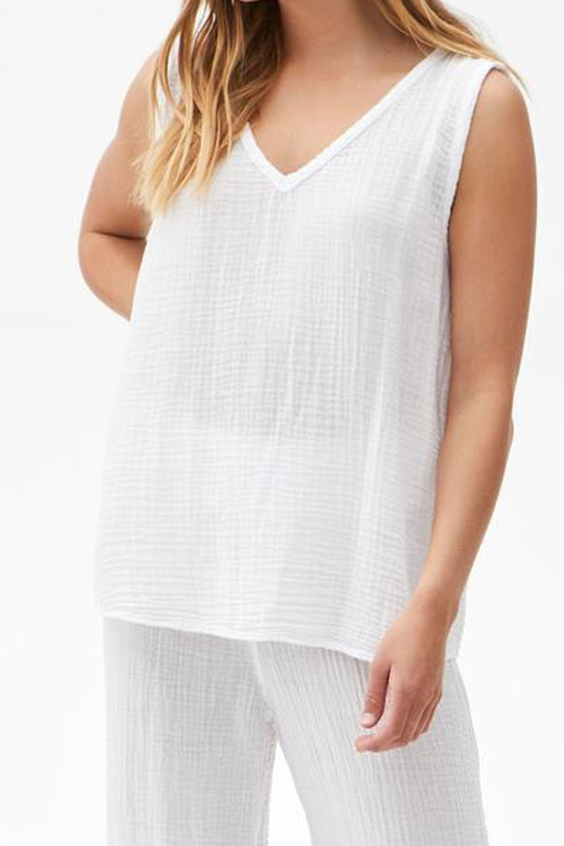 michael stars 100 cotton front to back tank in white 85587