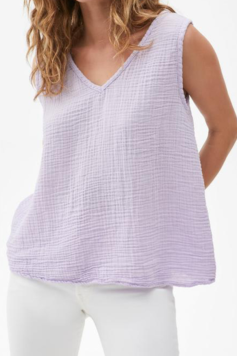 michael stars 100 cotton gauze abby front to back tank in lilac 85592