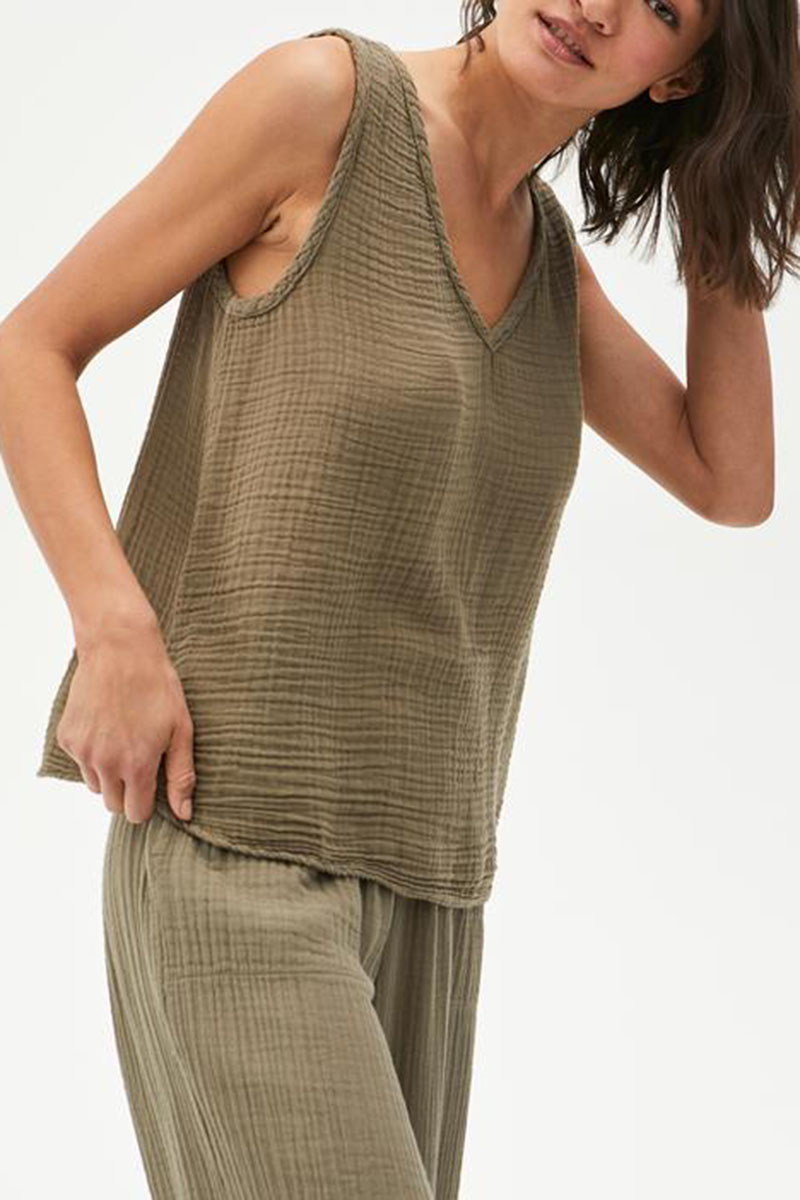 michael stars 100 cotton gauze abby tank in olive 87921