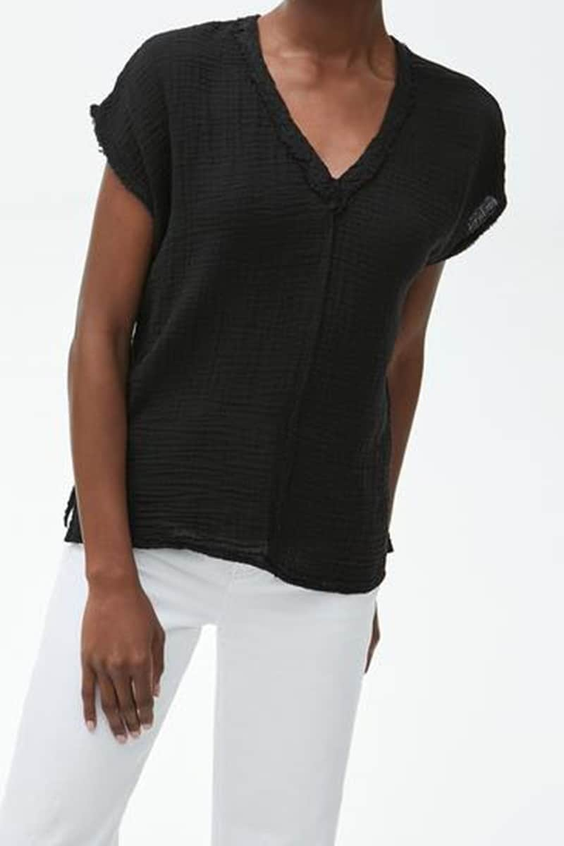 Michael Stars 100 Cotton Gauze Top In Black 69605
