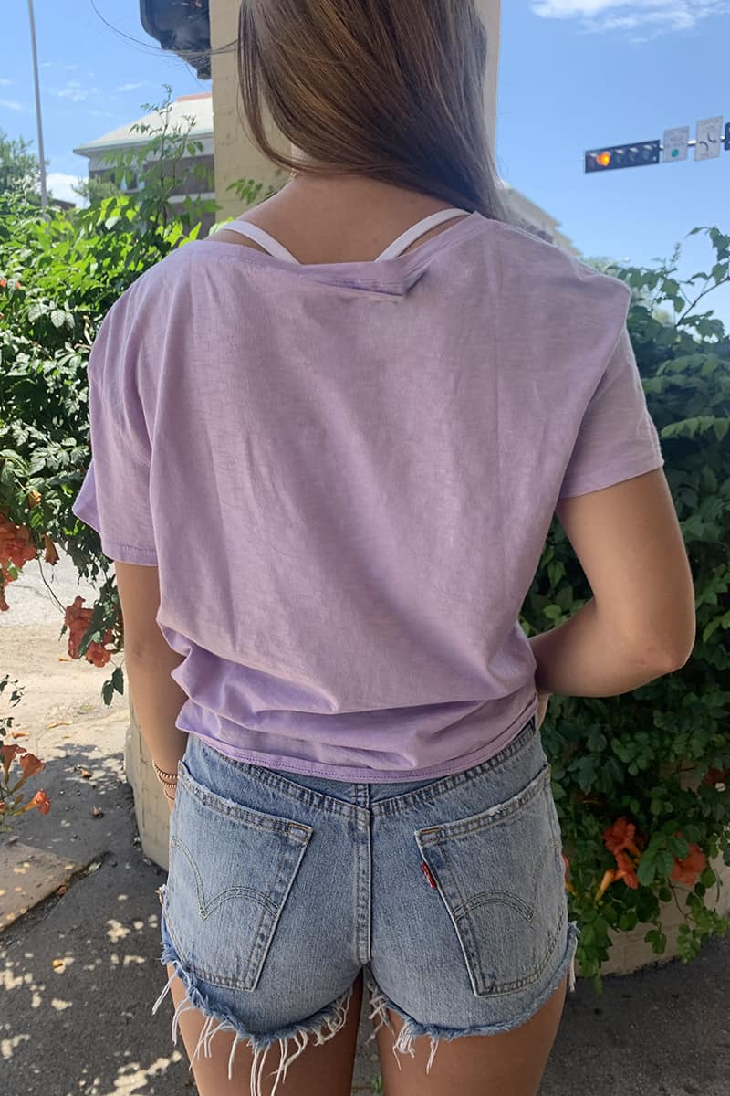 Michael Stars 100 Cotton Indira Tie Front Tee In Pale Lilac 68039