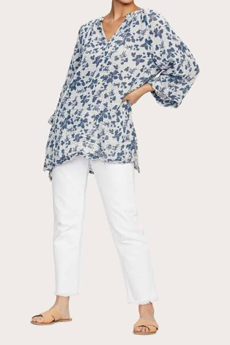 Michael Stars 100 Cotton Micah Floral Gauze Shirt 66807
