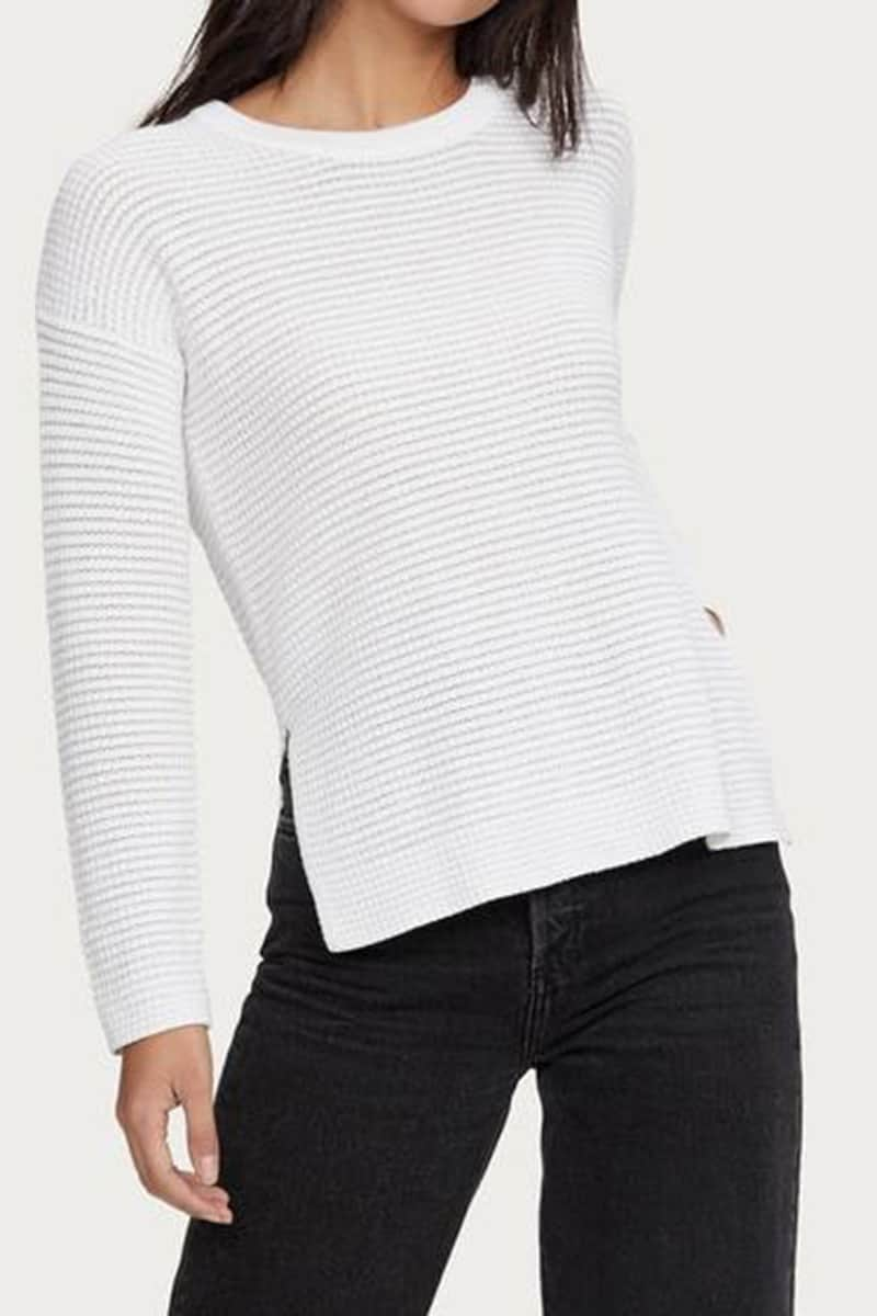 Michael Stars 100 Cotton Paige Ls Scoop Pullover In White 67497