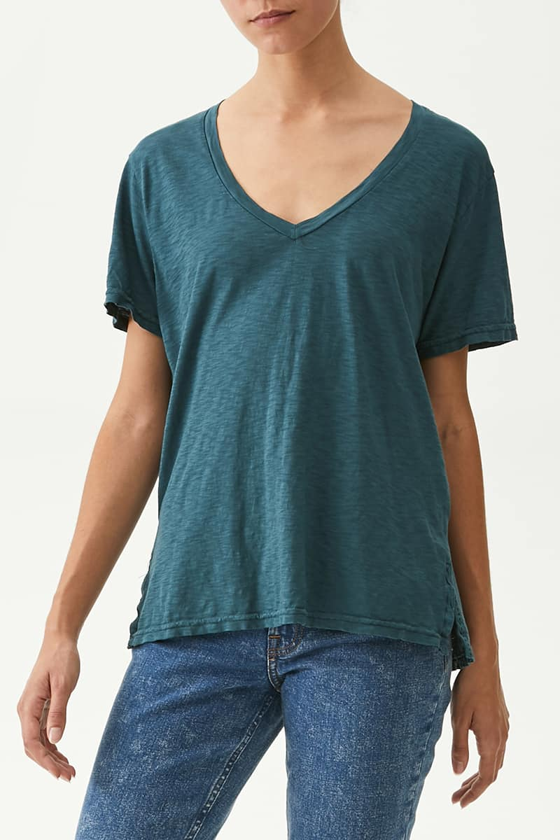 Michael Stars Levi V Neck Tee In Tide 76284