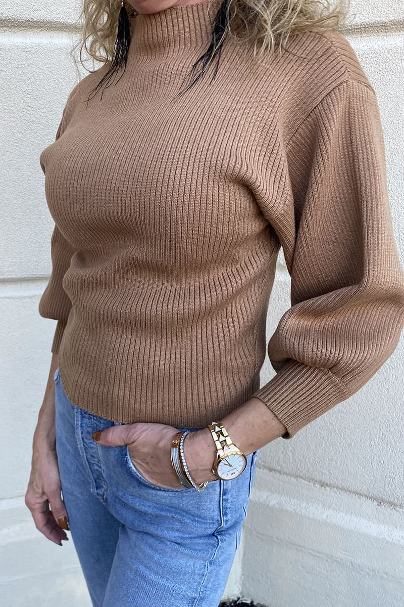 mock neck coil sweater in camel 96254
