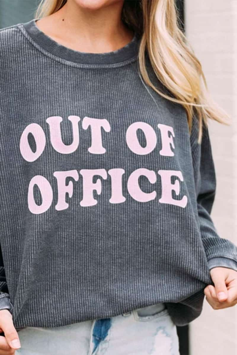 Out Of Office Corded Sweatshirt In Grey 72189