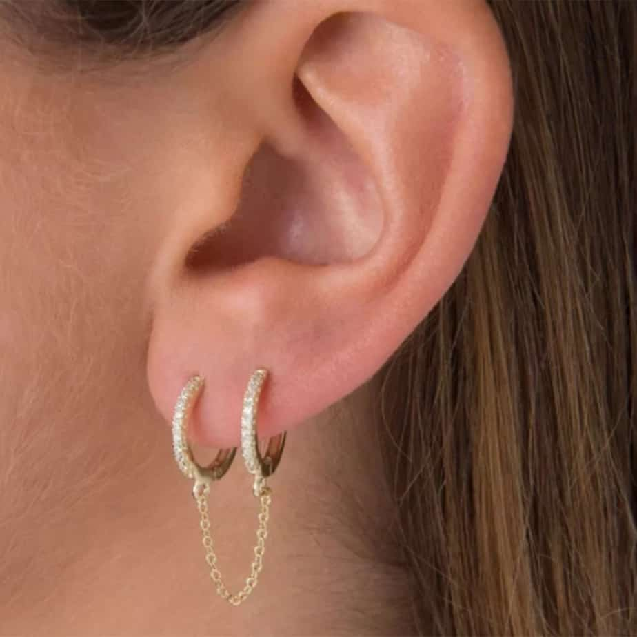 Pave Double Huggie Chain Earring 70797