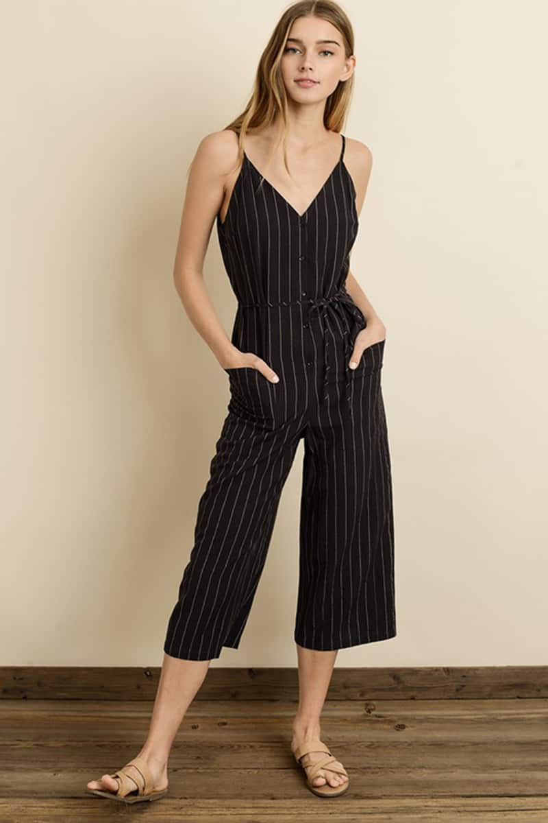 5961f8aa0a12 Pinstripe Cropped Culotte Jumpsuit in Dark Navy • Cotton Island ...
