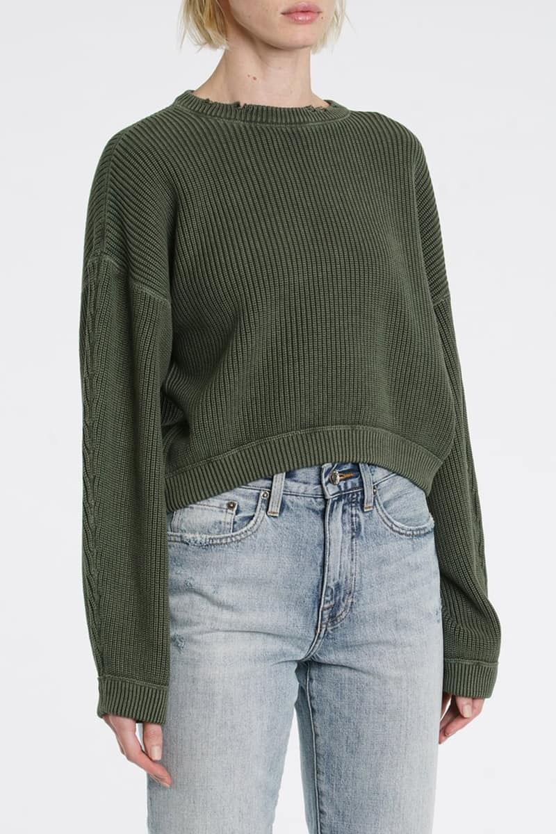 Pistola Frances Cropped Sweater In Olive 76183