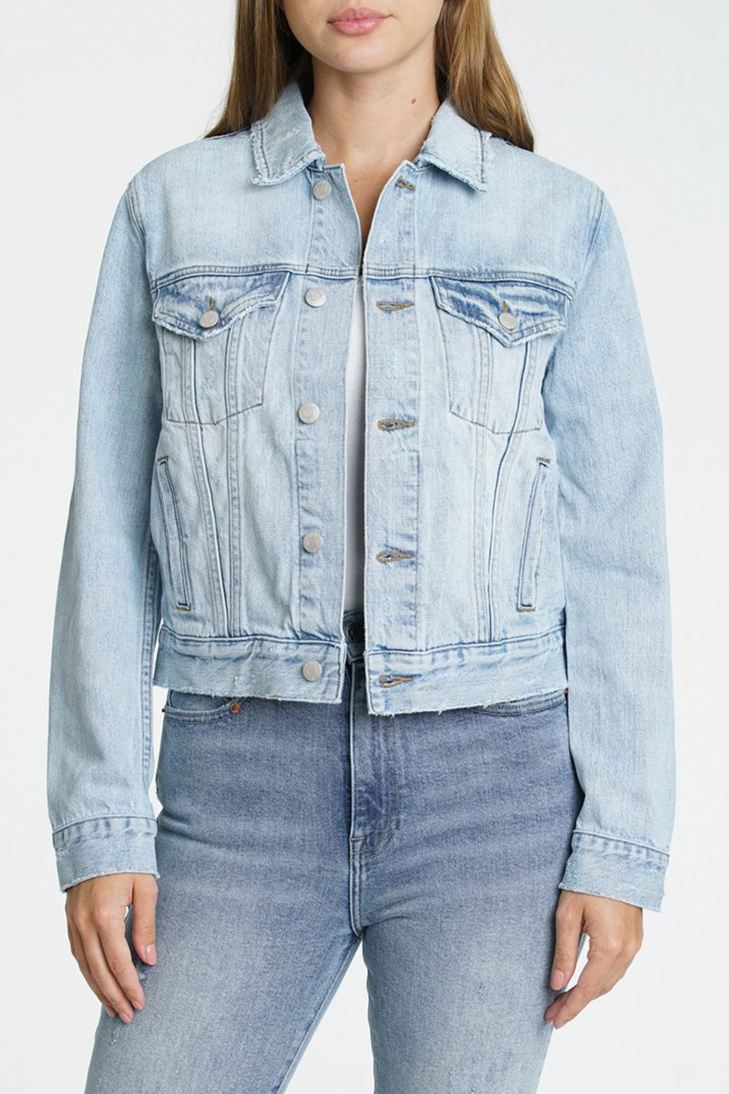Pistola Saba Fitted Crop Denim Jacket In By My Side 80697