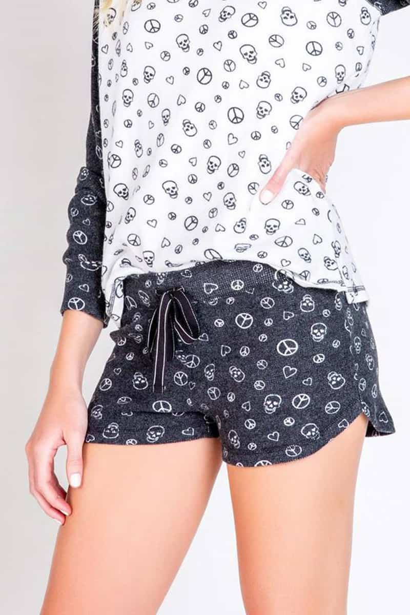Pj Salvage Peace Shorts In Black Print 71097