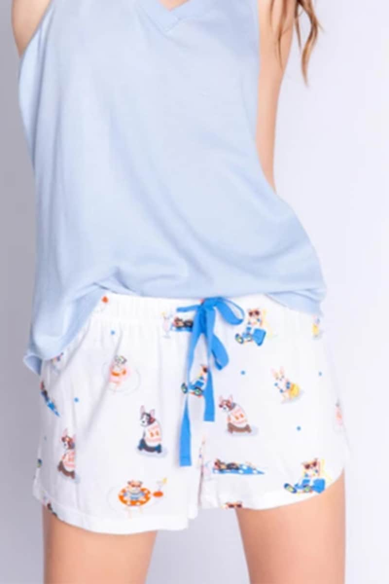 pj salvage playful print short in ivory 88010