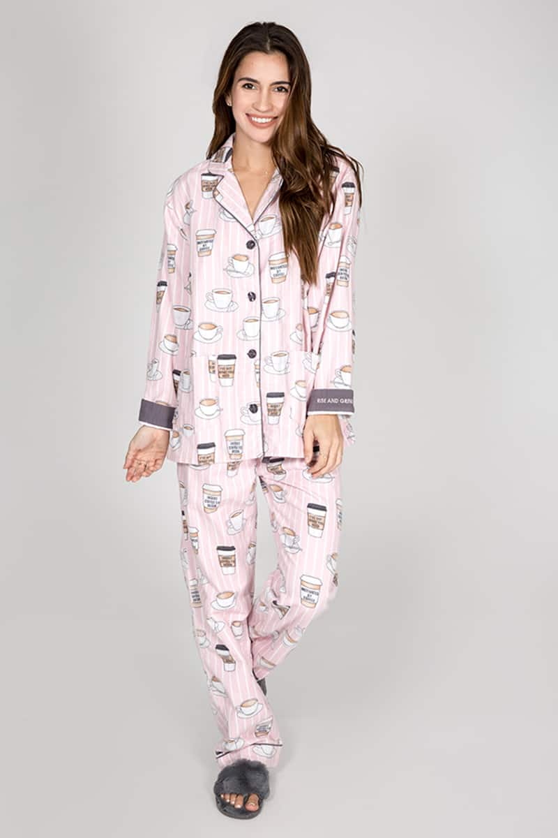 4c471d9303ff1 PJ Salvage Rise and Grind Flannel PJ Set in Blush • Cotton Island ...