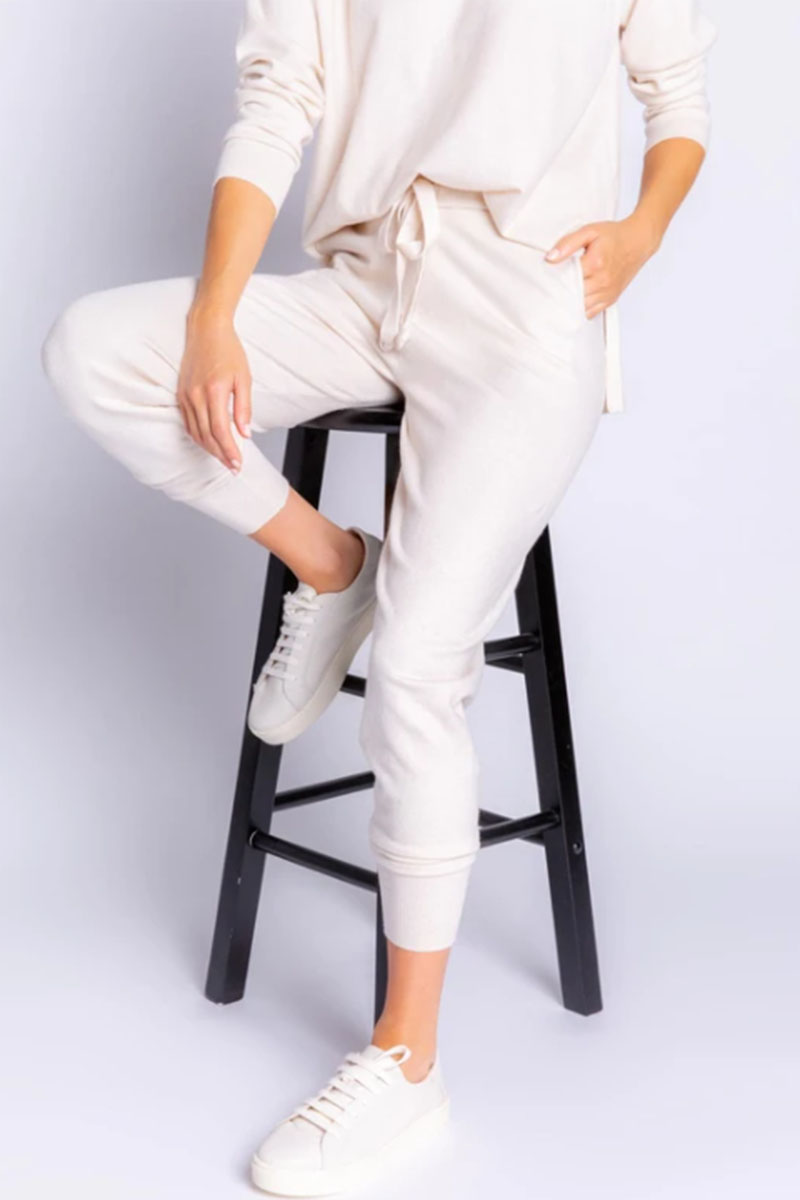pj salvage slounge banded pant in oatmeal 95080