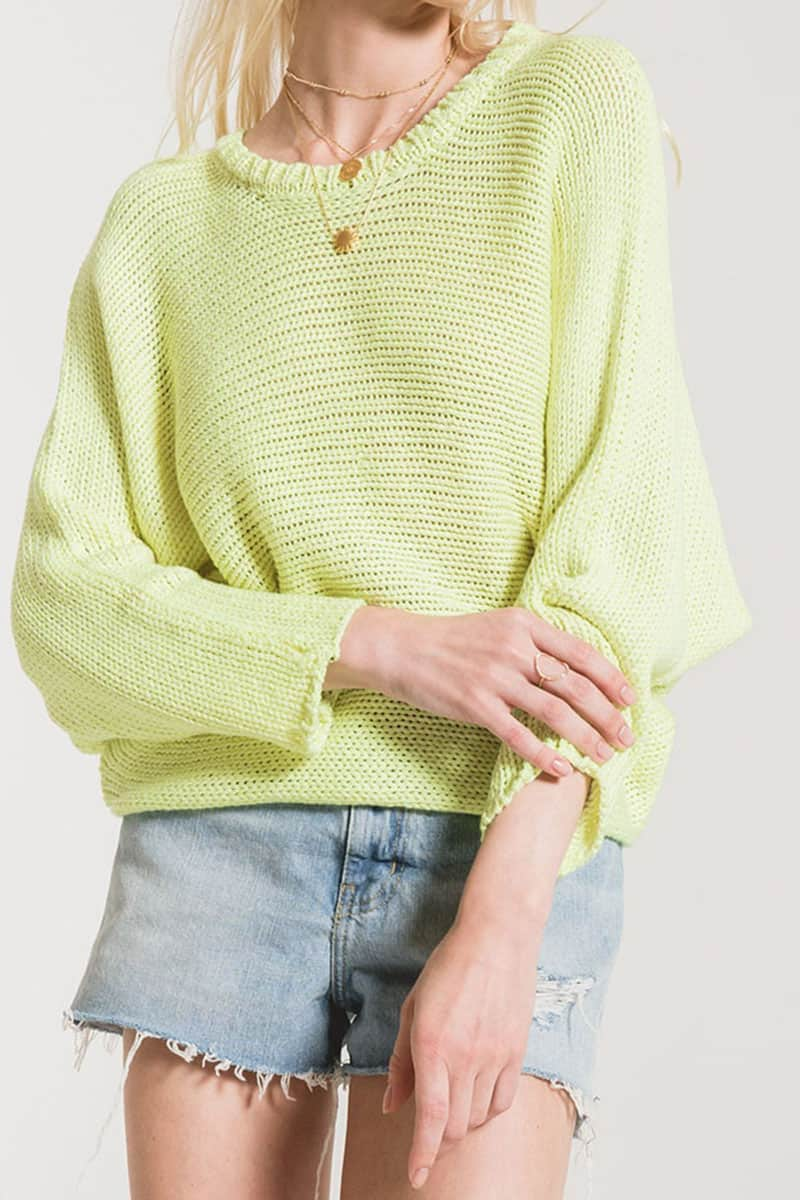 Rag Poet Cipriani Sweater In Neon Yellow 53311