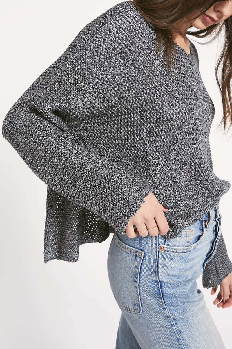 Rag Poet Fulton Sweater In Heather Charcoal 70888