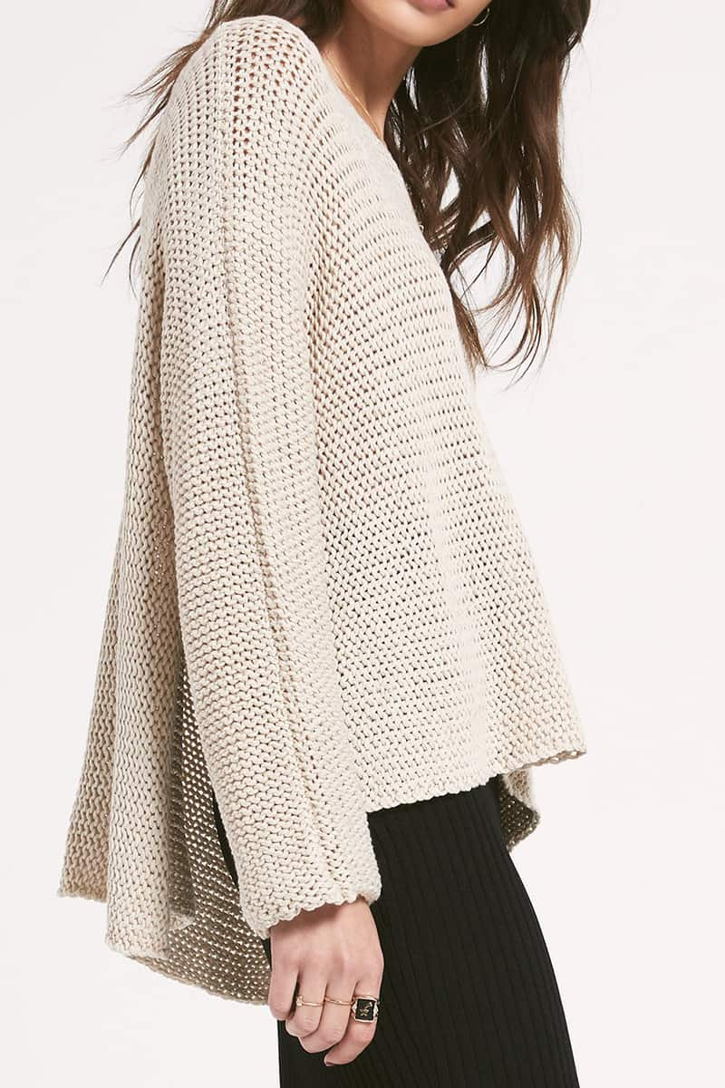 Rag Poet Fulton Sweater In Heather Oatmeal 70887