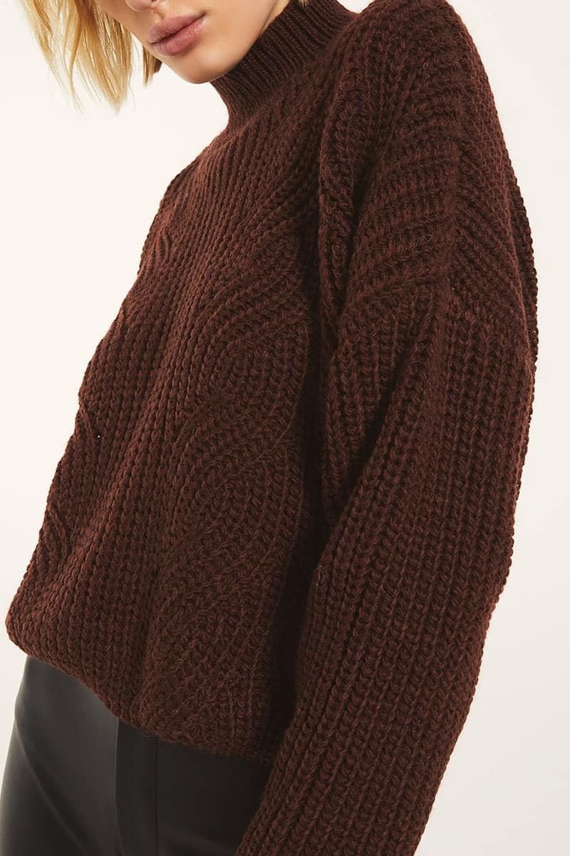 Rag Poet Marylebone Sweater In Rum Raisin 72426