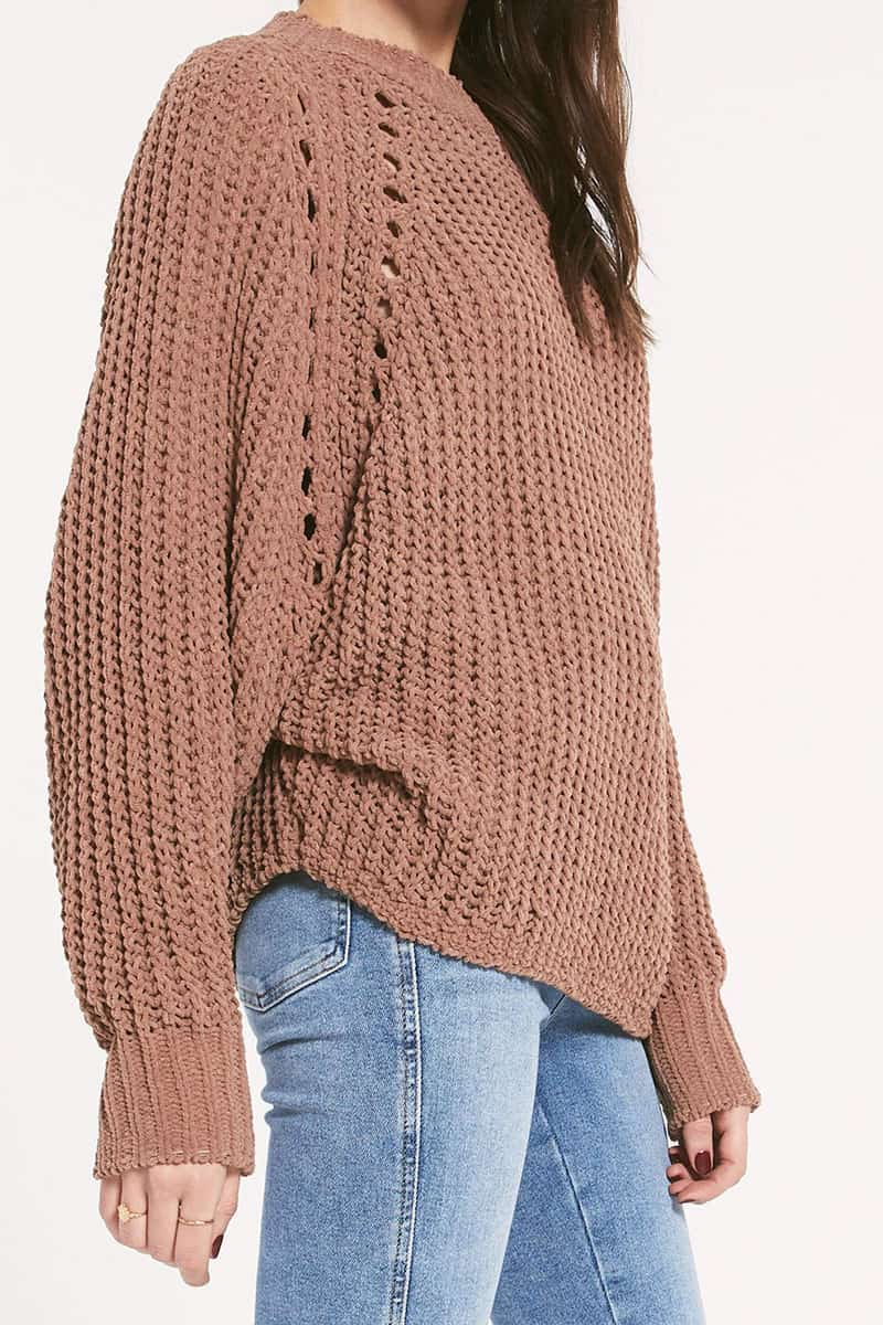 Rag Poet Promenade Sweater In Chestnut 72425