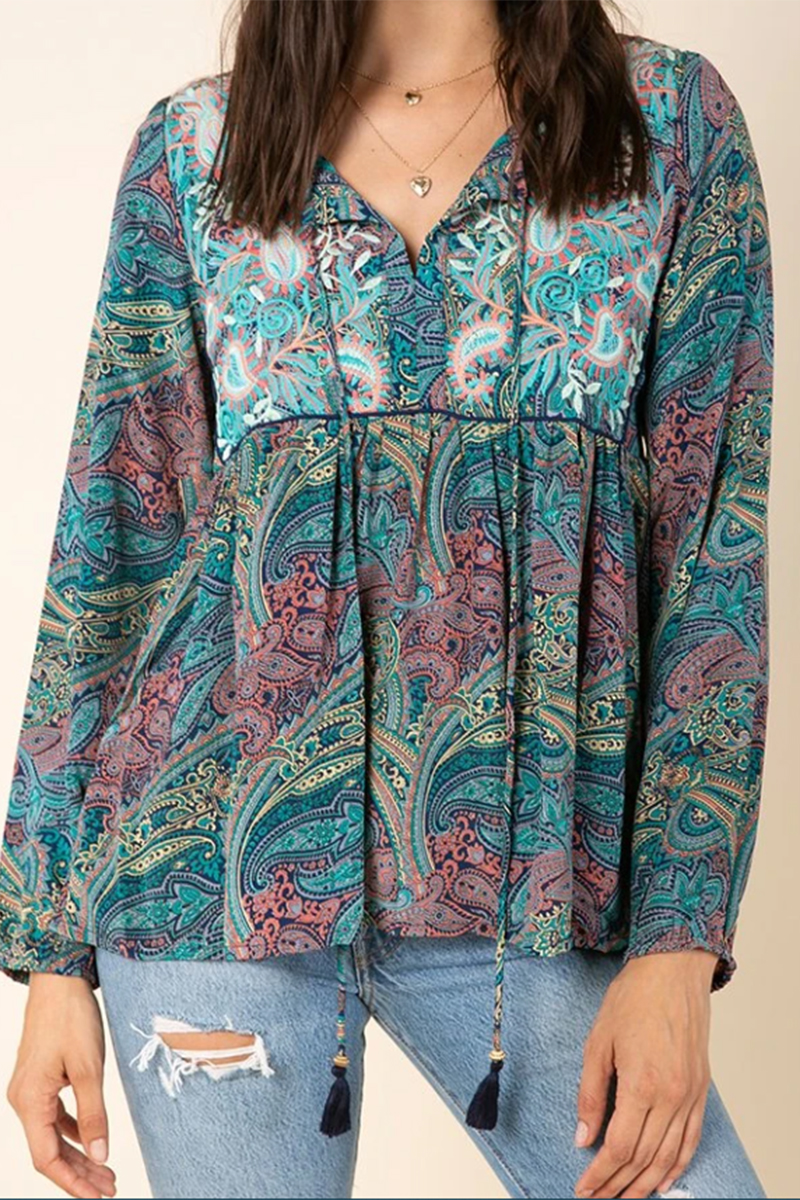 Raga Mystic Gardens Blouse In Turquoise Print 66504