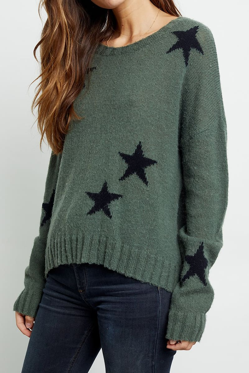 Rails Perci Star Sweater In Olive 72329