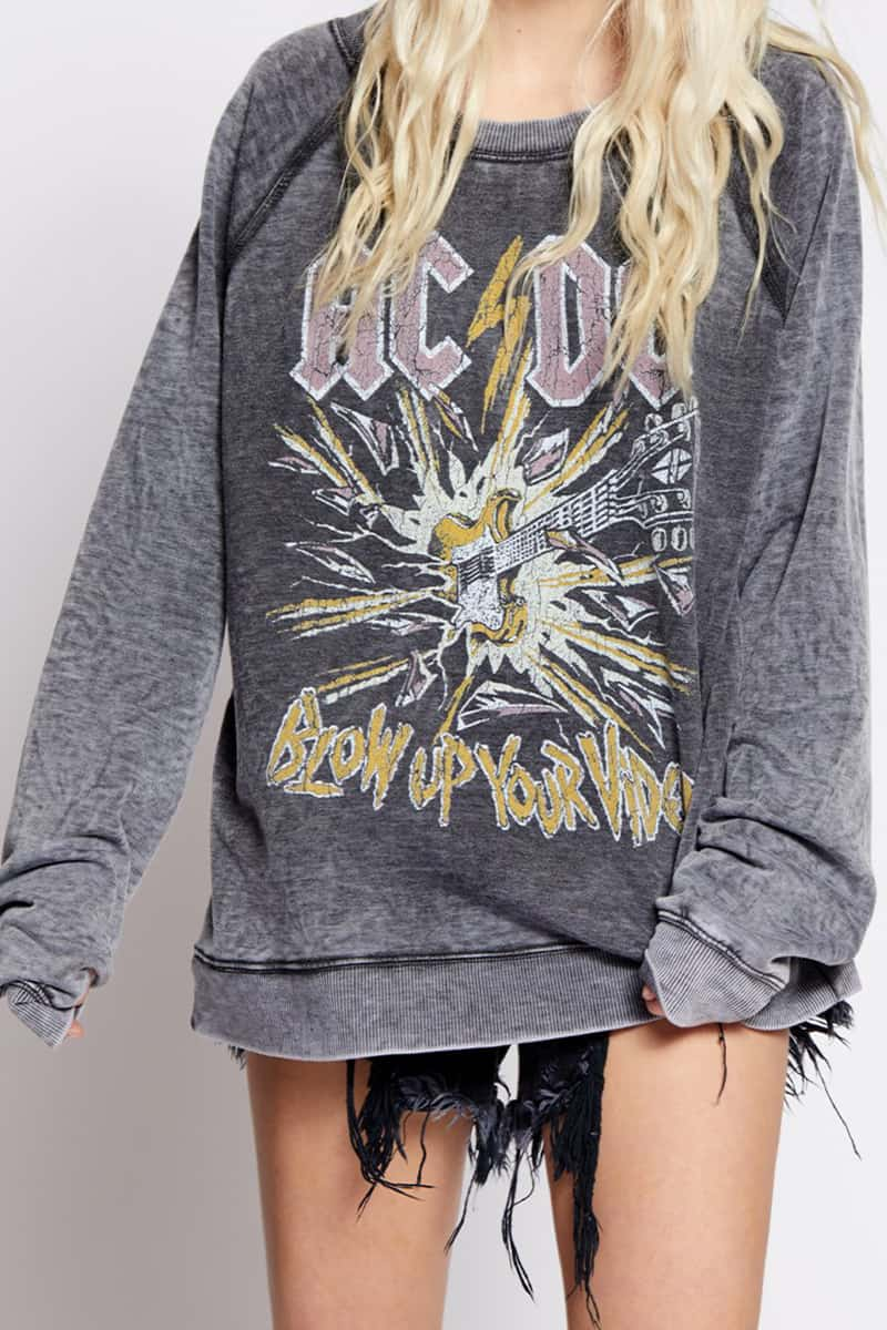 Recycled Karma Acdc Blow Up Your Video Sweatshirt 76472