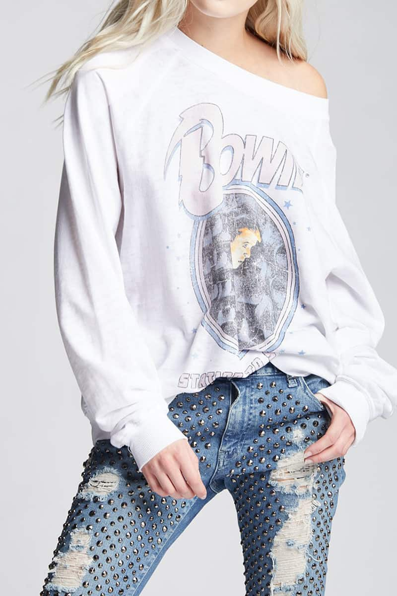 recycled karma bowie sweatshirt station to station in white 85116