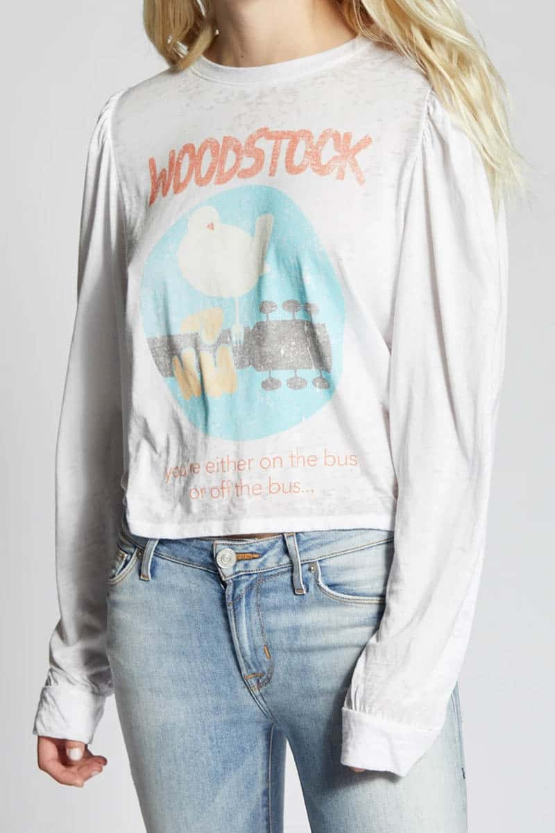 Recycled Karma Woodstock Puff Sleeve Ls In White 80203