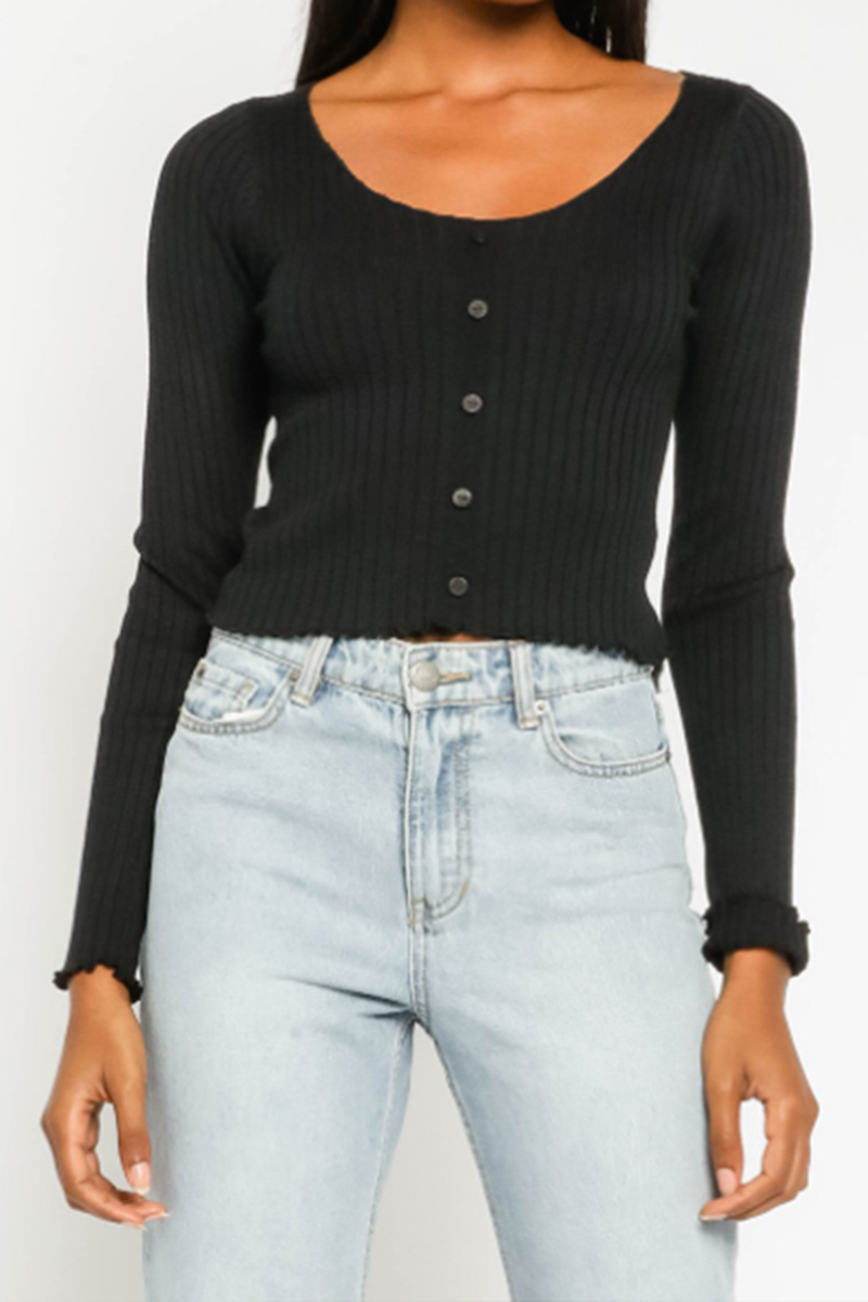 ribbed button up in black 96351