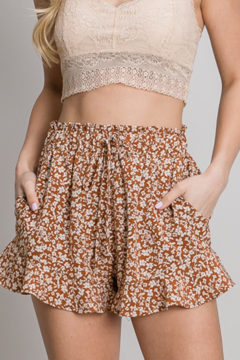 ruffle floral print shorts in sienna 88175