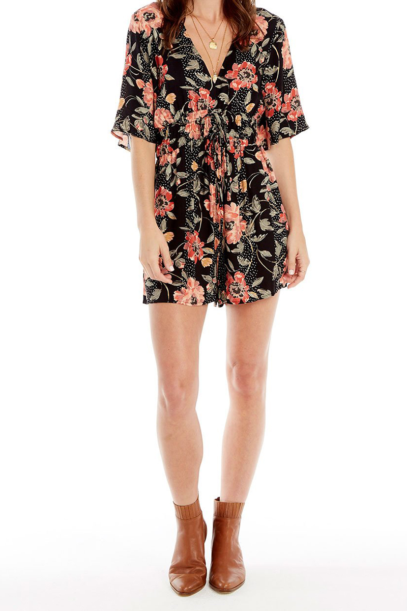 Saltwater Luxe Lido Romper In Black Floral 60594