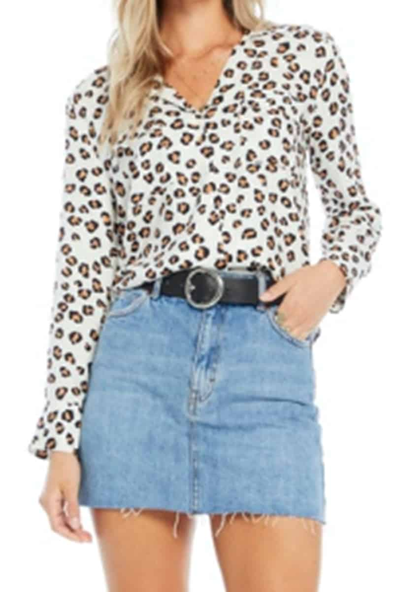 Saltwater Luxe Ls Button Blouse In Cheetah 66982