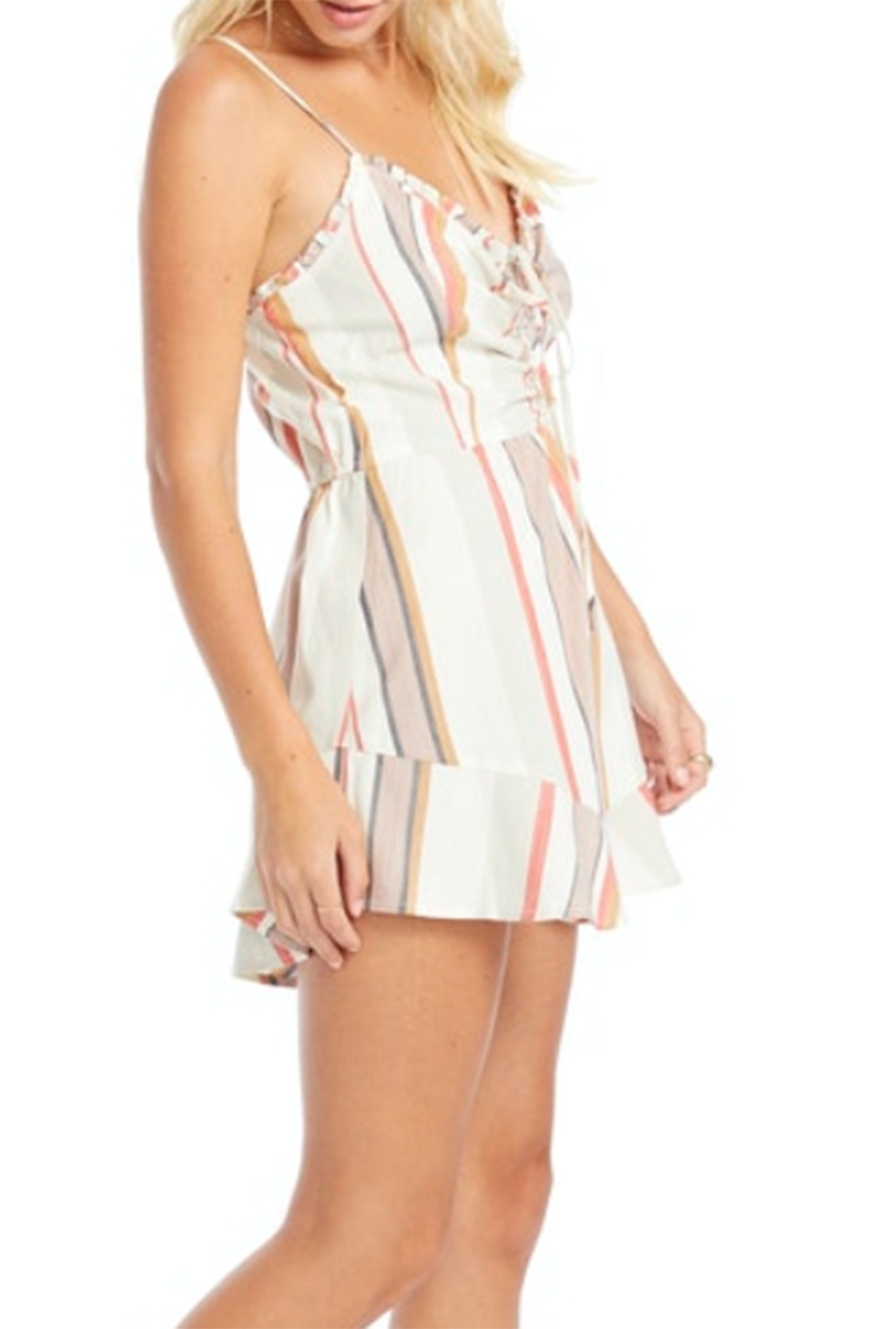 Saltwater Luxe Ruffle Sleeve Romper In Beach Stripe 69539