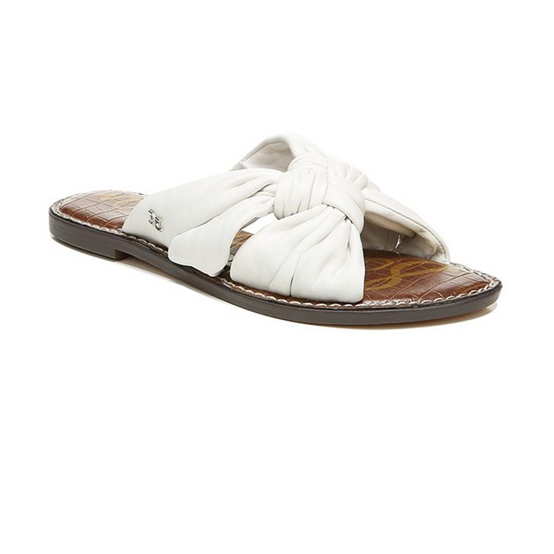 sam edelman garson white leather slide 82918