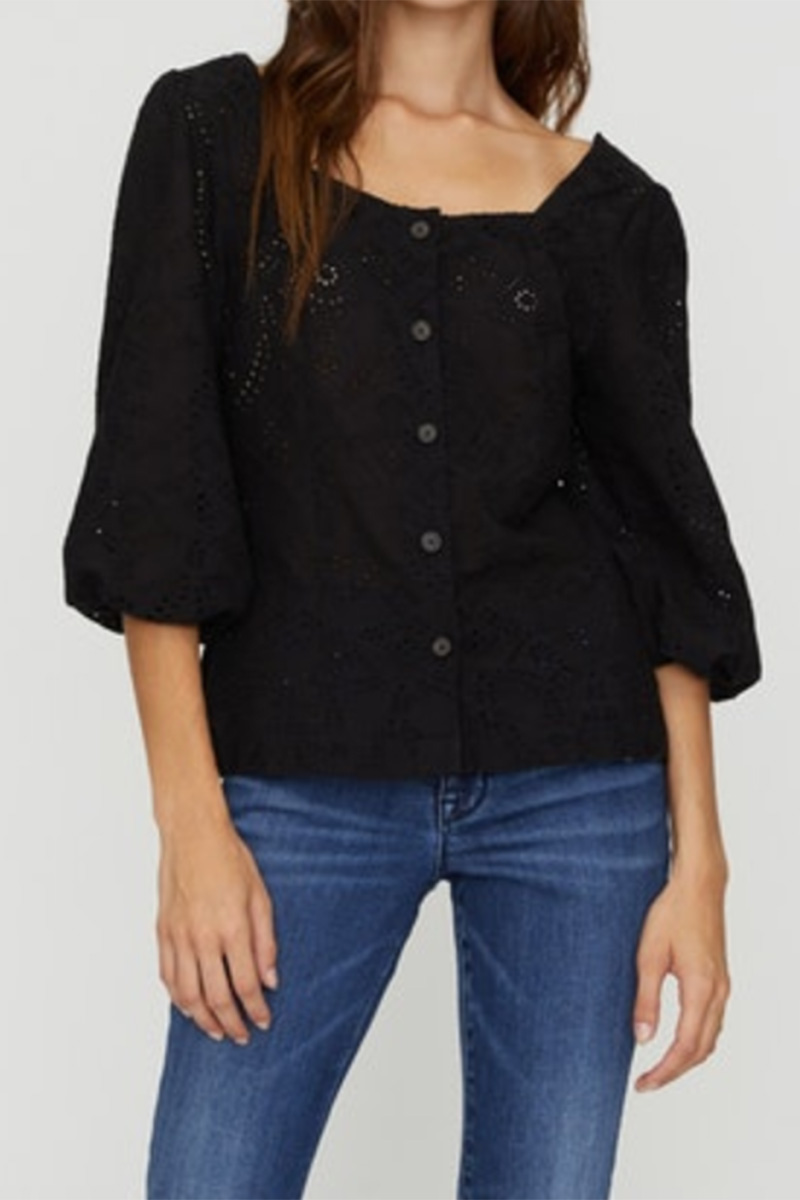 Sanctuary Voyage Eyelet Top In Black 62473
