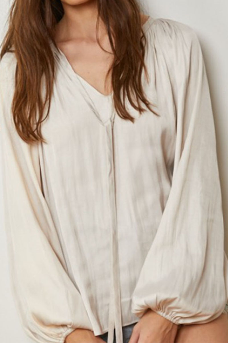 satin ls gathered top in pearl 89637