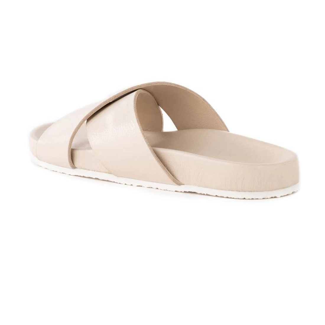 seychelles lighthearted slide in off white leather 84447