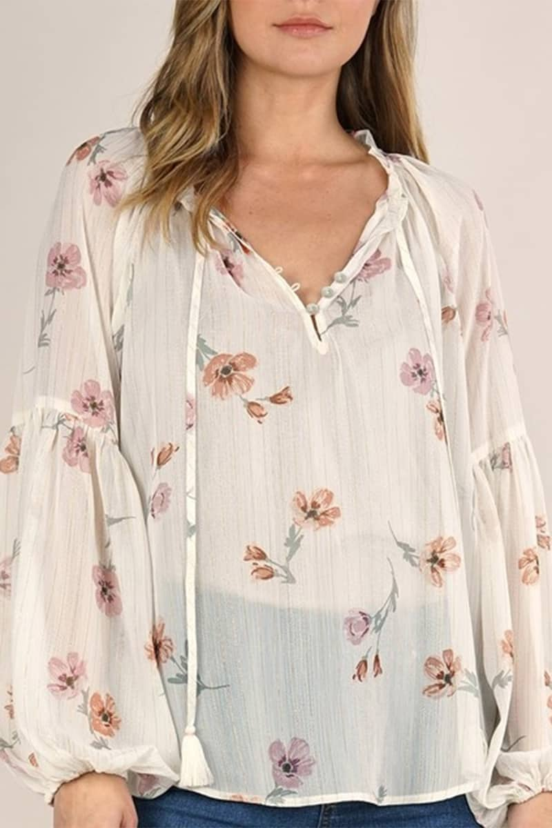 Sheel Floral Tie Neck Blouse 67760