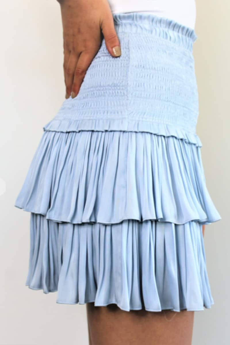 Silky Amore Tiered Ruffled Skirt In Lt Blue 80080