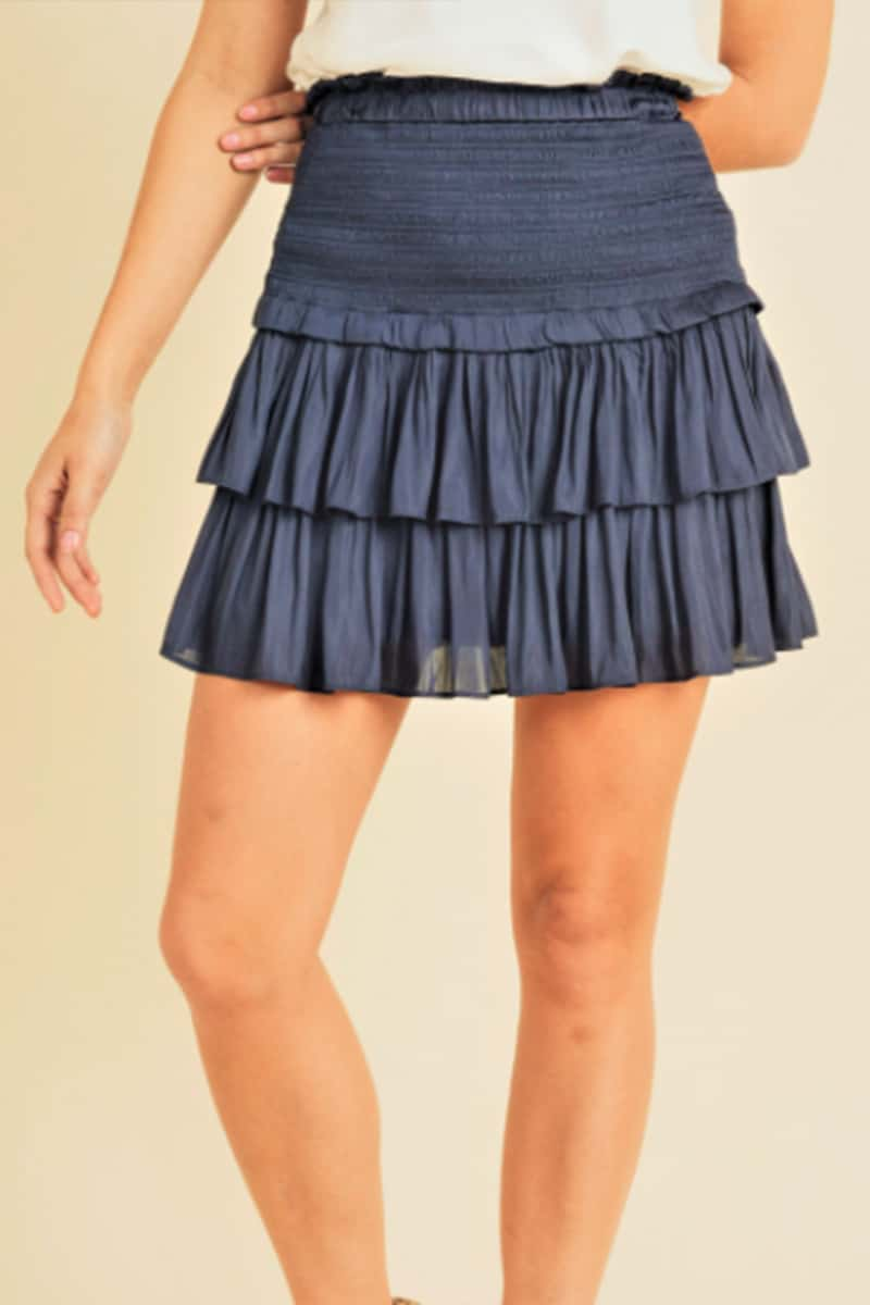 silky amore tiered ruffled skirt in navy 92075