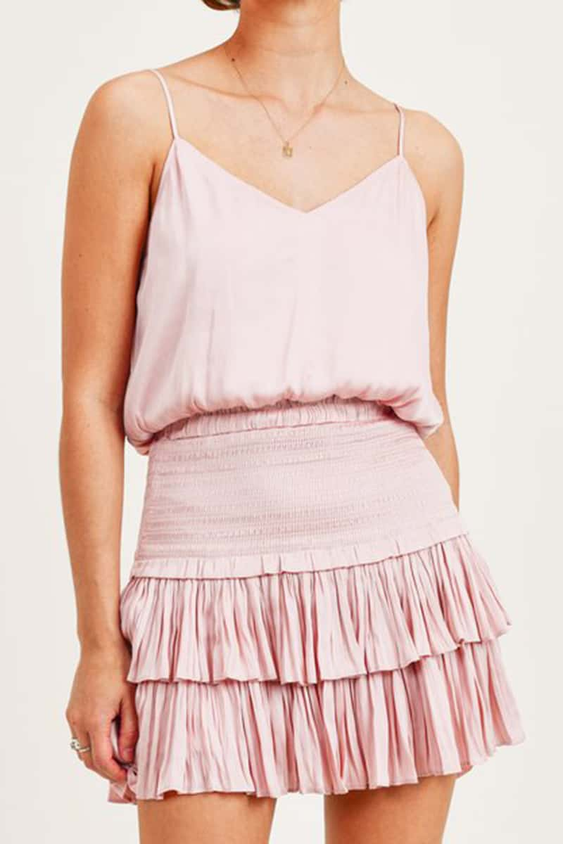 Silky Amore Tierred Skirt In Blush 80857